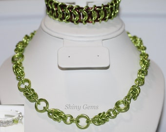 Chain Maille, Aluminum, Green, Chain Maille Jewelry, ChainMaille Necklace, Byzantine, Necklace, Aluminum Necklace