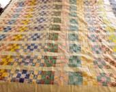 Vintage Applique Large Block Quilt Top Cotton Quilt 64 x 72