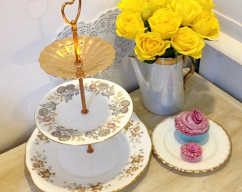 3 Tier Cake Stand comprising of wedgwood, wade and colclough decorative plates made with vintage bone china for your tea party or tea set