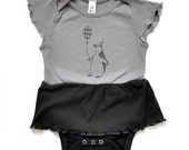 Baby Girl Clothes - Baby Girl Romper, Baby Romper, Baby Girl Bodysuit, Girls Bodysuit, Organic Girls Rompers - Penguin  on Gray and Black