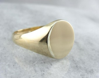 Hefty And Simple Mens Gold Signet Ring KD41U9