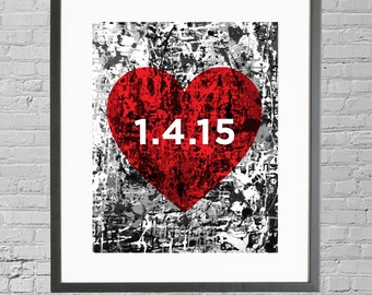 Personalized Wedding Date Art | Personalized Wedding Date Gift | Modern Heart Wedding Date 8x10 Print