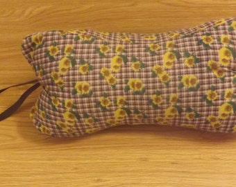 New Item!!! Dog Bone pillows for your neck in bed or the car. Brown/marroon plaid with beautiful sunflowers and Brown ribbon handle