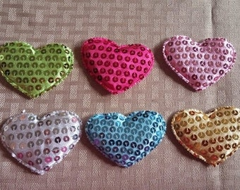 65*60MM  6 ct Heart Sequin Applique- boutique supplies- padded sequin hearts-