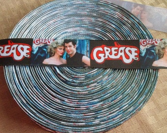 "1"" Grease Inspired ribbon- hair bow ribbon- crafting supplies-"