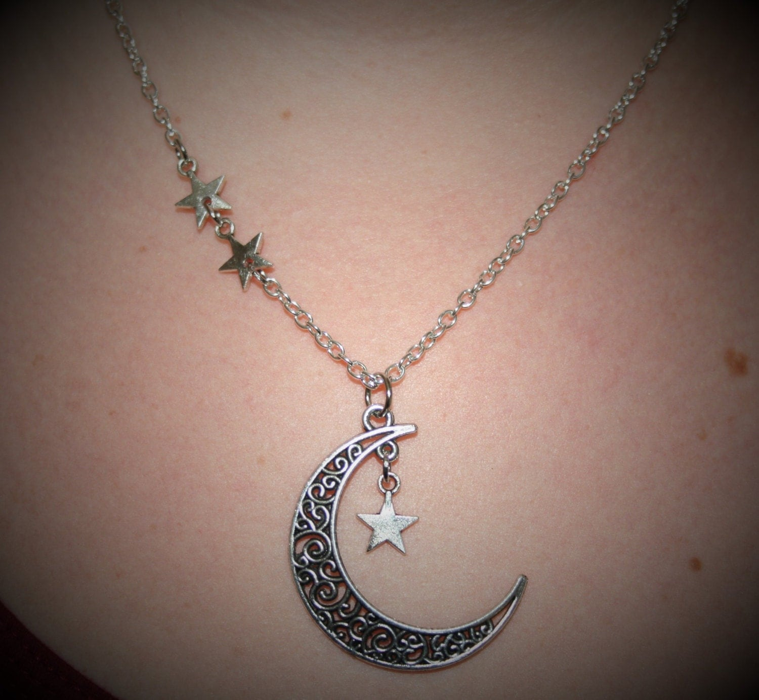 Moon and star necklace star dangle necklace moon and star moon and star necklace star dangle necklace moon and star jewelry silver tribal celtic moon night sky jewelry moon pendant wicca star aloadofball Choice Image