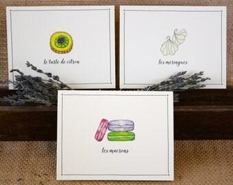 French bakery note cards | macrons | meringues | lemon tart | gift for baker |