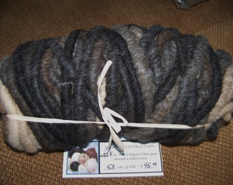 100% Alpaca Bulky Rug Yarn - 53 yards - 22.8 oz All Natural - No Dyes -  Mix of Brown/Beige/Fawn and Black