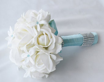 Spectacular Ivory White Jewel Wedding Bouquet - Pin Crystal Jewel Bride Bouquet - Rhinestones