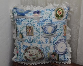 Delft blue pillow Etsy