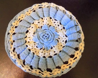 Vintage Blue and White Doily