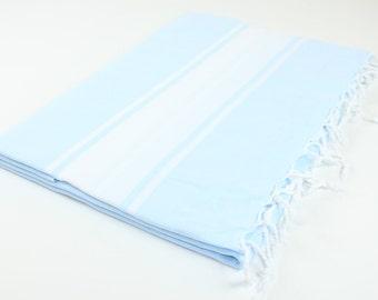 Beach Picnic Oversized Blanket, Beach Towel Blanket, Excellent Quality, 100% Turkish Cotton Light Blue