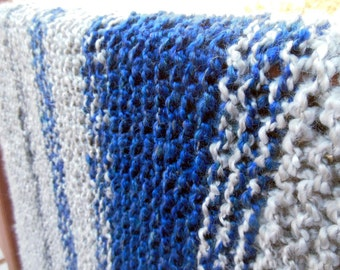 Hand Knitted Afghan, Soft Blanket, Warm Throw, Blue/Gray Striped Afghan