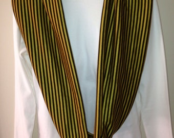 Mustard Yellow and Black Stripe Infinity Scarf, Loop Scarf, Circle Scarf