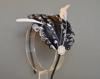Black and White Feather Headband Fascinator Burlesque Wedding Bridesmaids Hair Accessory Curled Feathers 'Delilah'