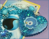 Blue Resin Heart featuring Pokemon Piplup Necklace
