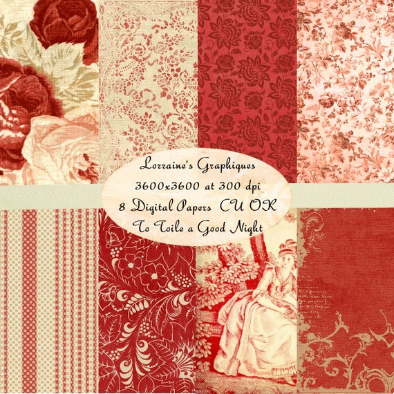 Digital christmas paper pack shabby chic toile printable for Toile shabby chic