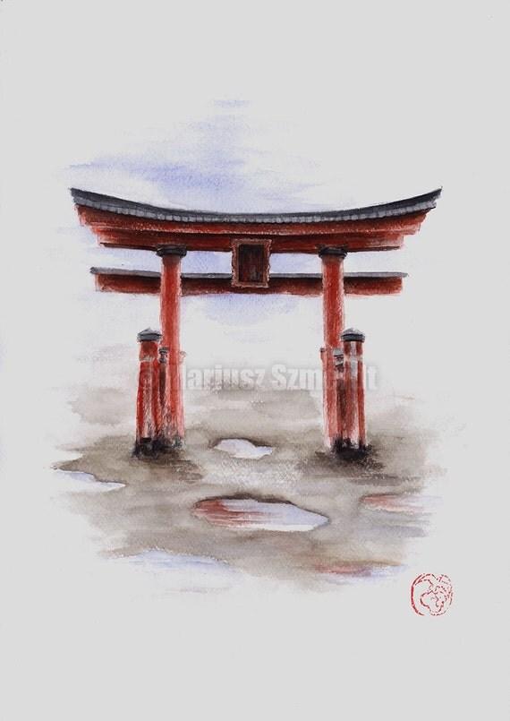 Torii Gate Painting Original Watercolor Artwork Japanese