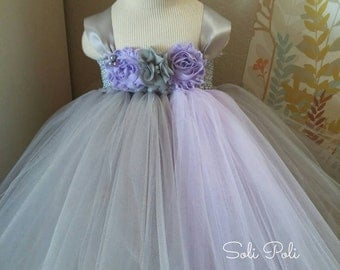 Grey and Lavender Party Dress-Flower Girl Dress