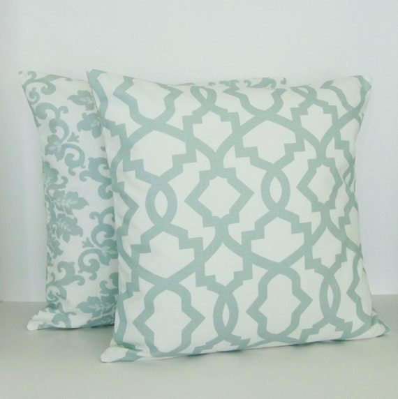 Seafoam Spa Green Mint Pillow Covers Decorative Throw 16x16