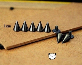 100Set 7*10mm Black Cone Screwback Metal Studs Leathercraft Rivet Bullet Spikes Spots & free shipping