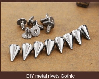 100pcs/set 10mm Silver Cone Spikes Screwback Studs DIY Craft Cool Rivets Punk
