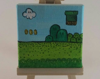 "Mario painting on mini canvas acrylic painting magnet 2.5""x2.5"""