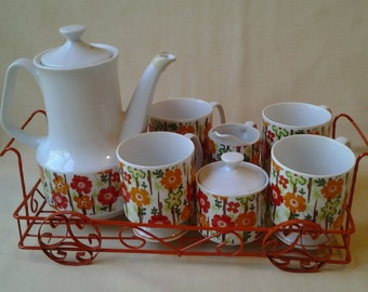 Vintage Mod Coffee Set ~ Tea Set ~ Decorative Wire Tray ~ Japan ~ 1960's ~ Flower Power ~ Coffee Pot ~ Creamer ~ Sugar Bowl ~ Cups