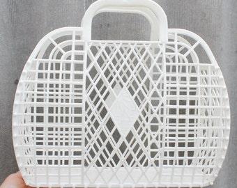 Vintage white basket -Go shopping - Made in USSR - Soviet vintage
