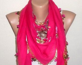 pink scarf  yellow flower green  brown white aidaidris cotton turkish yemeni oya handmade