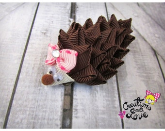 Hedgehog Ribbon Sculpture Hair Clip. Hedgehog Hair Clip