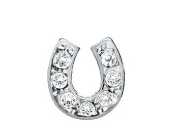 Rhinestone Horse Shoe Lucky Floating Locket Charm for Floating Charms Locket Magnetic Glass Living Memory Lockets & Necklaces
