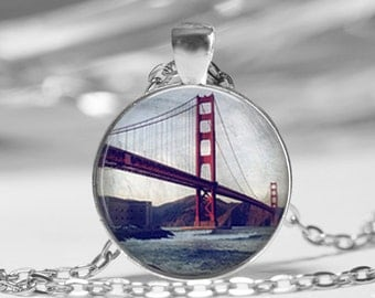 San Francisco California Golden Gate Bridge Vintage Inspired Photo Pendant Necklace or Key Chain SF Key Chain Jewelry glass pendant