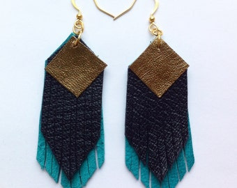 Fringed geometric tassel eco leather earrings, in dark metallic gold, navy and turqoise leather hand-cut layers