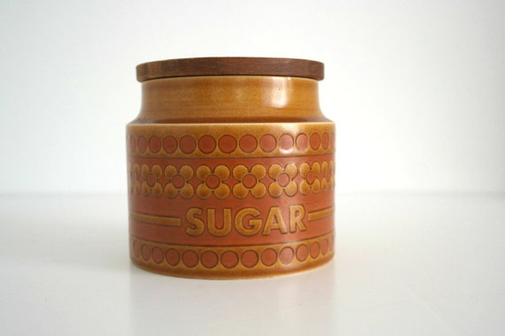 Retro 70's  Hornsea Saffron England Sugar Jar/Pot Kitchen storage Brown Color Mid Century Decor