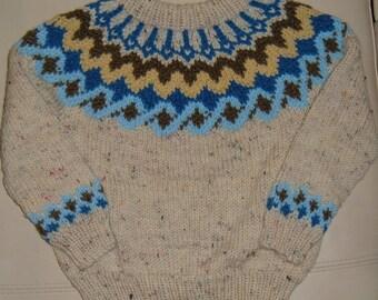 3 yr old Hand Knit Oatmeal Jumper colourful yoke