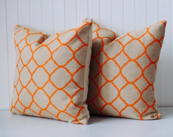 Decorative throw pillow, cover in trendy summer colors, Home & Living, home decor, Trellis, Moroccan, ogee pattern
