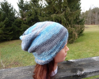 Blue & Brown Knitted Baby Alpaca Slouchy Hat