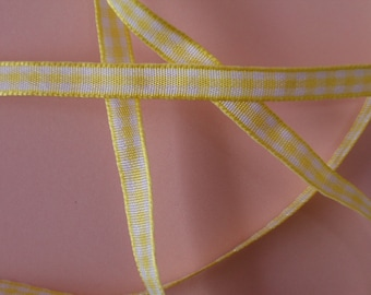 Quality Woven Edge 7mm Yellow Gingham Ribbon