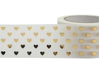 Washi Tape, Gold Washi Tape, Metallic Gold Tape, Embellishment, Craft Tape, Decorative Tape, Printed Tape, Planner Tape, Scrapbooking Tape