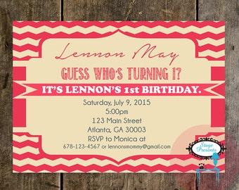 Fancy Script Chevron Birthday Party Invitation - 5X7 - DIY - Print At Home  - Girl's Birthday Invitation - Evite