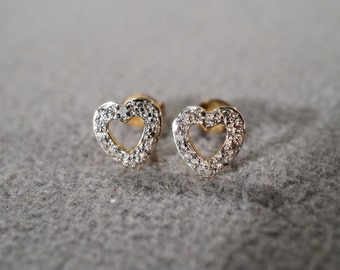 Vintage Sterling Silver Yellow gold Overlay Heart Shaped Stud Style Pierced Earrings      # 208