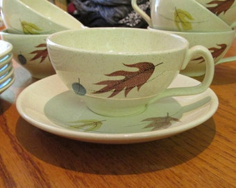 Franciscan Color Seal Cups and Saucers in Autumn Pattern  set of 6