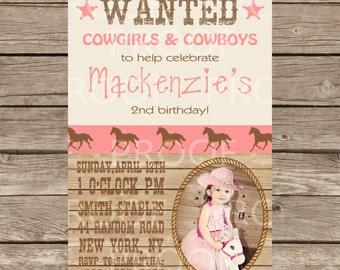 Custom Cowgirl Themed Birthday Invitation