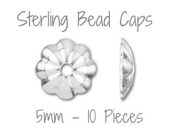 SALE  - Sterling Silver 5mm Bead Cap Made in USA - 10 Pieces