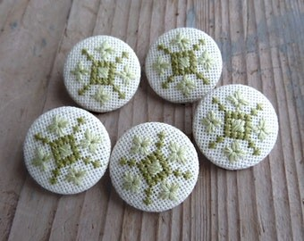 Fabric covered rustic buttons, rustic wedding buttons, retro light green medium button, accessories decor, bag purse buttons
