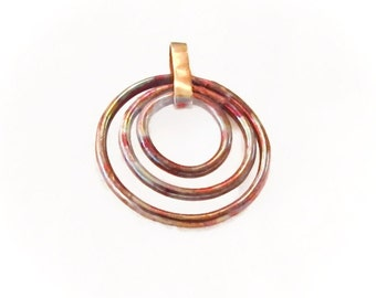 Mixed Metal Pendant, Copper Brass Pendant, Fire Painted Copper, matching earring and pendant