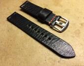 Custom for Lee Schneider - 20mm black dimpled leather strap