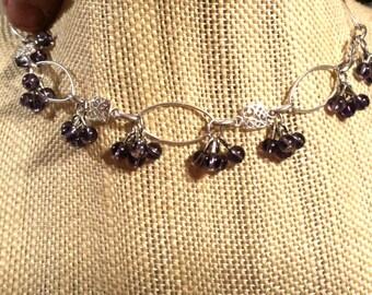 Solid Sterling Silver Oval Link 7 & 1/2 Inch Bracelet with Amythest Crystal Clusters Sterling and Amythest Bracelet