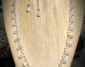 Pale Powder Blue Natural Chalcedony Faceted Teardrops,  Swarovski Crystals, Swarovski Pearls on 19 Inch Necklace with Chalcedony Earrings